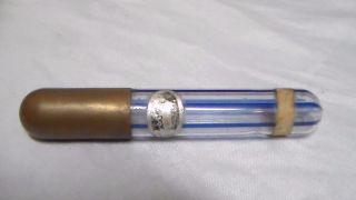 Rare Antique Perfume Bottle Dauber Blue Stripe Glass Gold Lid Miniature Mercury? photo