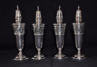 4 Antique International Silver Sterling Salt & Peppers Marked Wedgwood 830 photo