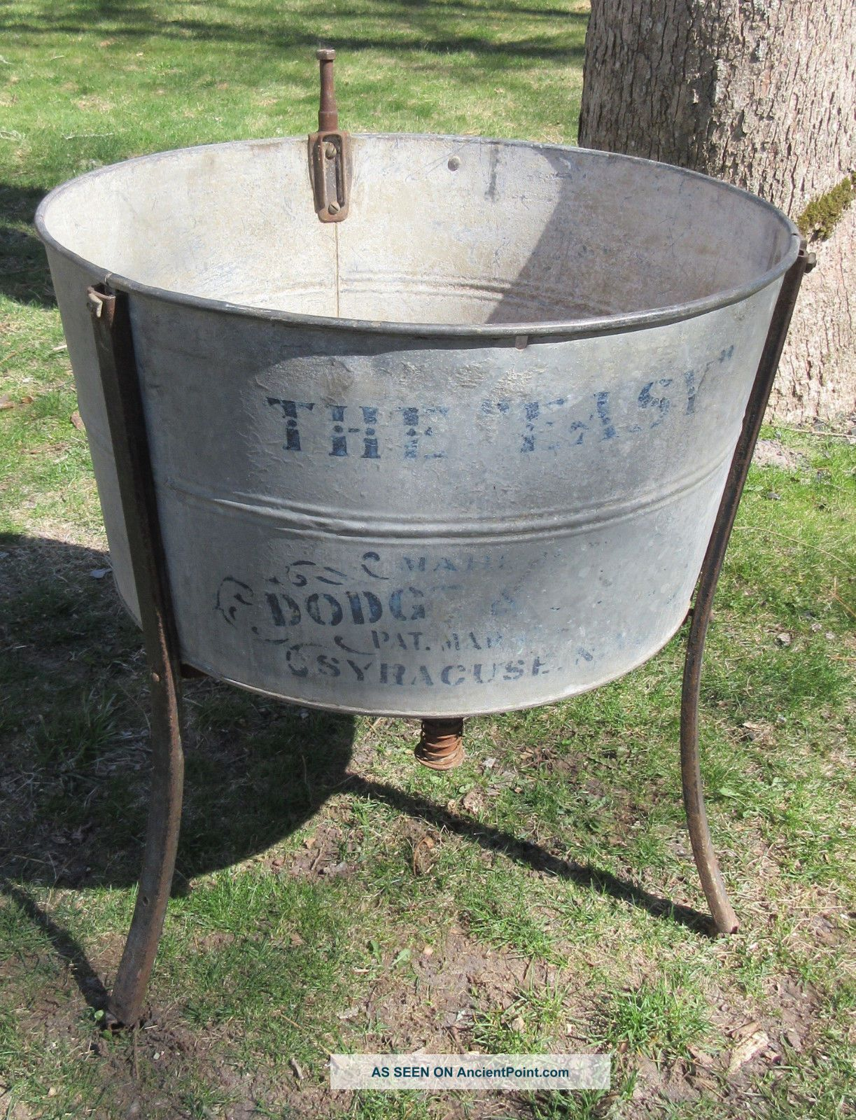 Antique Wash Tub On Stand 'the Easy' By Syracuse Anodized Metal & Iron Washing Machines photo