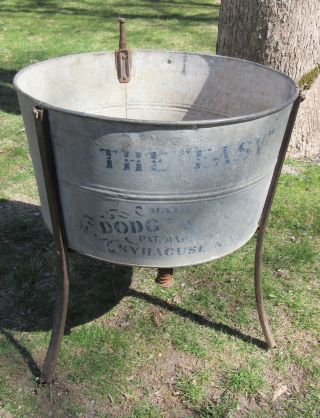 Antique Wash Tub On Stand 'the Easy' By Syracuse Anodized Metal & Iron photo