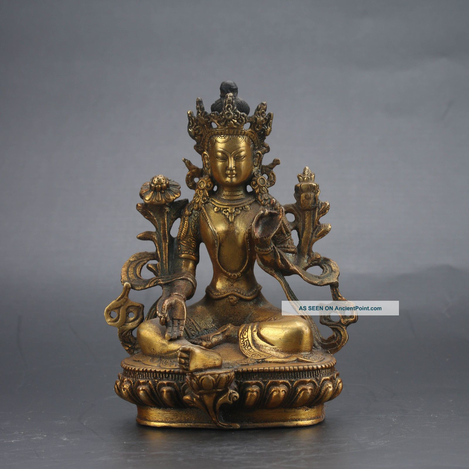 Chinese Brass Hand - Painted Tibetan Buddhist Statue - - Vajrasattva Gd6646 Buddha photo