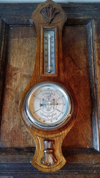 Vintage Oak Cased Aneroid Barometer And Thermometer - Good Order photo