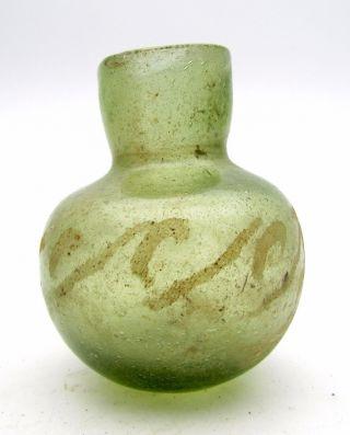 Roman Glass Flask / Bottle - Ancient Historic Artifact Delicate - L73 photo