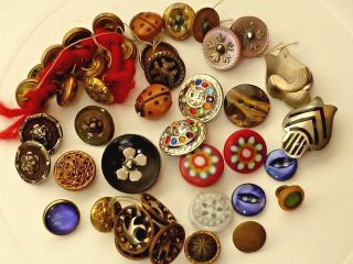 Vintage Mixed Variety Of Buttons,  Glass,  Marcasite,  Metal,  Shell & More photo