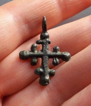 Ancient Bronze Cross Pendant Viking Kievan Rus 8 photo