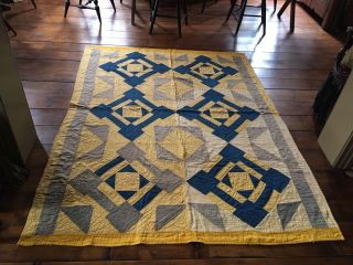 Yellow & Blue Hand Sewn Early Antique Quilt Textile Rare Color Combination Aafa photo