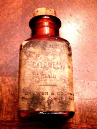 Antique Small Apothecary Bottle Calomel C.  1890 photo