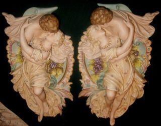 Pair Art Nouveau Dresden Bisque Romantic Lovers Relief Wall Plaques 12.  5