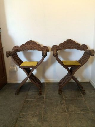 Vintage Carved Lions Head Italian Savonarola Folding Chair Pair photo