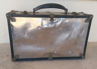 Antique Eagle Lock Conn.  Mirrored/metal Small Suitcase Box Storage photo