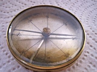 Vintage Brass Pocket Compass,  Made In France photo