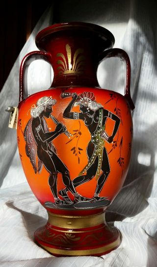 Grecian Amphora Pottery Museum Copy Quality Hand Painted Greek Vessel Urn Vase photo