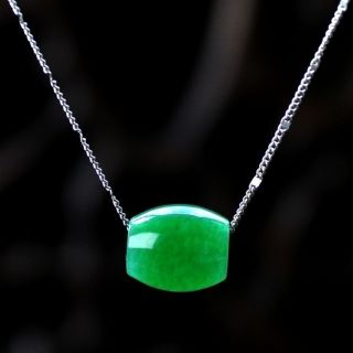 Natural Hand - Carved Chinese Jade Necklace Pendant - Green photo