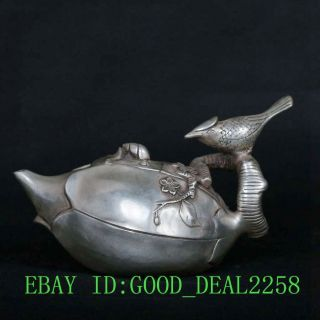 Tibet Tibetan Silver Copper Hand - Carved Magpie Meishao Teapot W Qianlong Mark photo