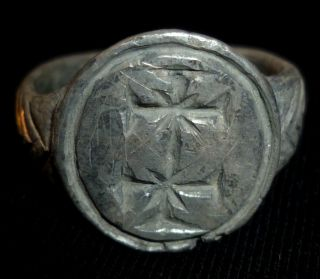 Knights Templar Ancient Artifact - Silver Ring With Crosses Circa 1100 Ad photo