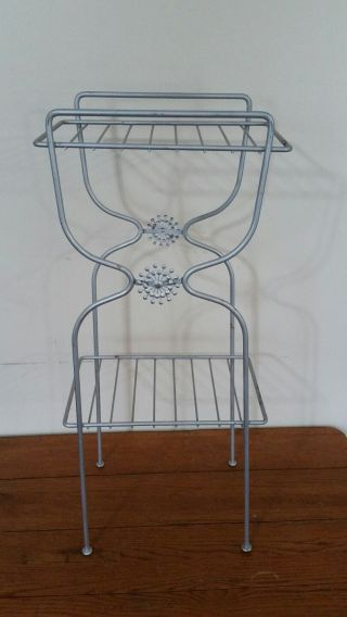 Vintage Small Wire Plant Stand 2 Shelf photo