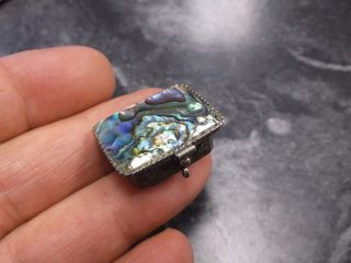 Vintage 925 Sterling Mexico Abalone Top Pill Box Lidded Hinged Box Buy It Now photo