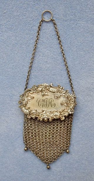 Antique Victorian Sterling Silver Mesh Floral Chatelaine Coin Purse Circa 1890 photo