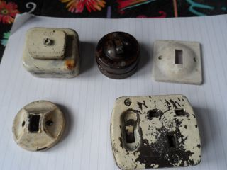 Bakerlight? Light Switches Vintage Painted Over Electrical Parts Recycle Mk photo