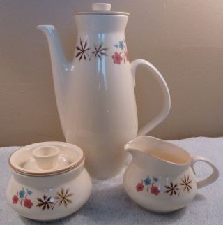Htf Mid - Century Franciscan Larkspur Tall 6 - Cup Coffee Pot,  Sugar Bowl,  Creamer photo