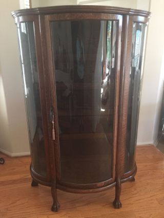 Antique Tiger Oak Bowed Glass Curio Display Cabinet Wood Shelves Key photo