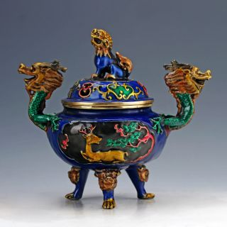 Cloisonne Hand Carved Dragon Pattern &kylin Lid Incense Burners photo