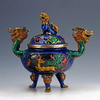 Cloisonne Hand Carved Dragon Pattern &kylin Lid Incense Burners photo