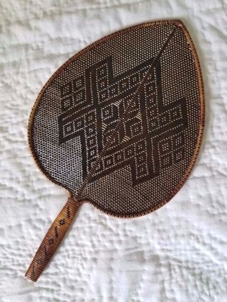 Antique Handwoven Fan,  Possibly Philippine photo