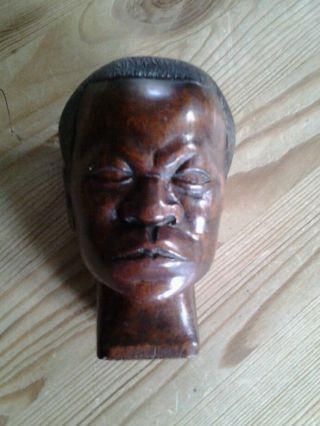 Vintage Tribal African Hardwood Carved Blackamoor Male Head Sculpture photo
