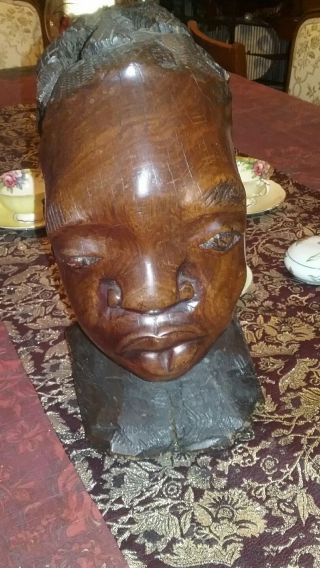 African Vintage Art Hand Carved Exotic Wood Womans Head Bust Ebony? photo