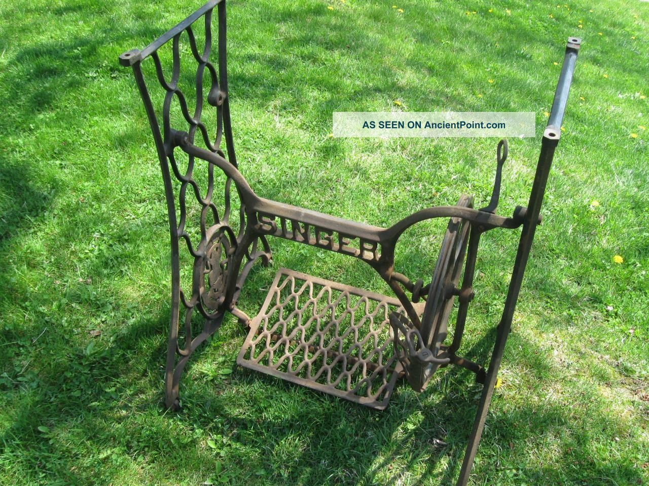 Antique Singer Treadle Sewing Machine Base Cast Iron Base Industrial Age 1913 Sewing Machines photo