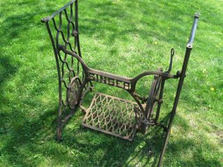Antique Singer Treadle Sewing Machine Base Cast Iron Base Industrial Age 1913 photo