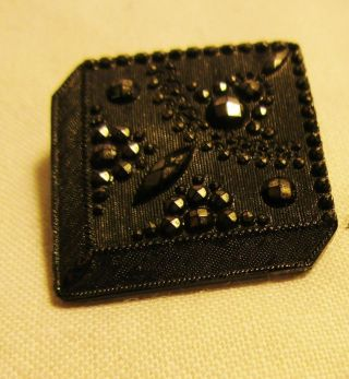Antique Lacy Black Glass Button - Mourning - Silver Luster - Square - Imit Cut Steel - 216 photo