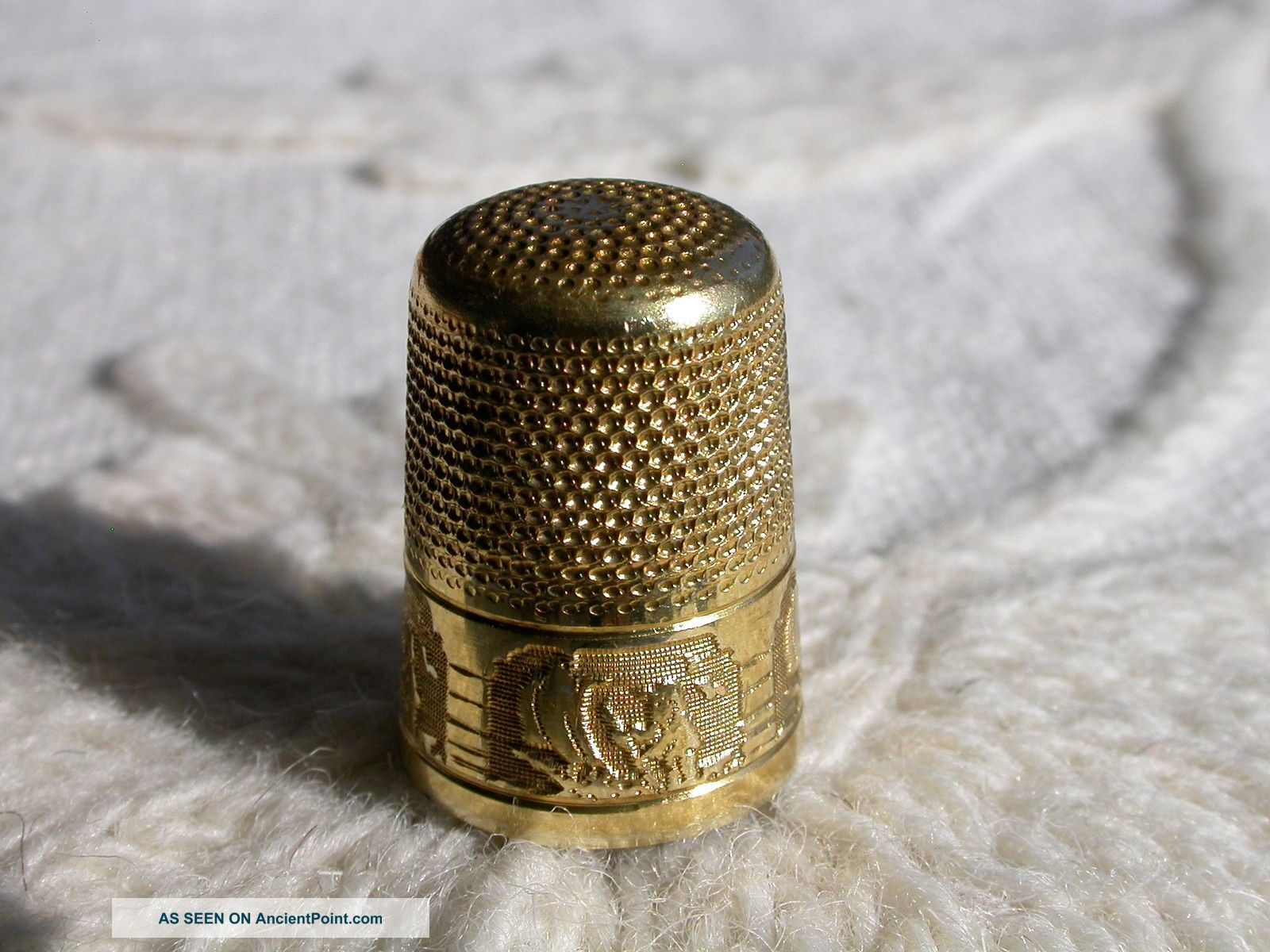 Extraordinary Antique Gilt Silver Thimble By Prud ' Homme France C1900 Thimbles photo