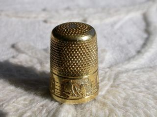 Extraordinary Antique Gilt Silver Thimble By Prud ' Homme France C1900 photo