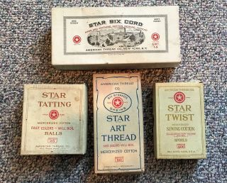 Antique 4 Thread Boxes Star Twist,  Tatting Art Thread Six Cord American Thread photo