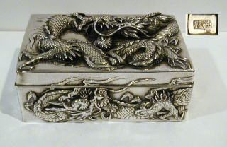 Japnesse Marked Jungin Pure Silver Meiji Period Dragon Presentation Box photo