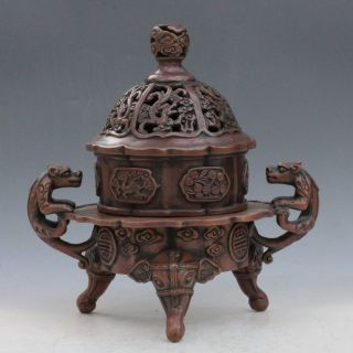 Chinese Old Red Copper Handwork Incense Burners W Xuan De Mark photo
