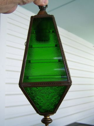 Vintage Brass Hanging Wall Light Green Glass Arts Crafts Mid Century Restore photo