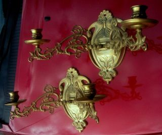 Gothic Pair Art Nouveau Brass Swing Arm Candle Stick Holder Wall Sconces C.  1900 photo