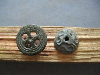 2 Stylized Sun Cosmic Amulets Ancient Celtic Bronze Solar Talismans 500 - 300 Bc. photo