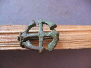 Swastika Fibula Ancient Celtic Bronze Openwork Brooch 200 - 50 B.  C. photo