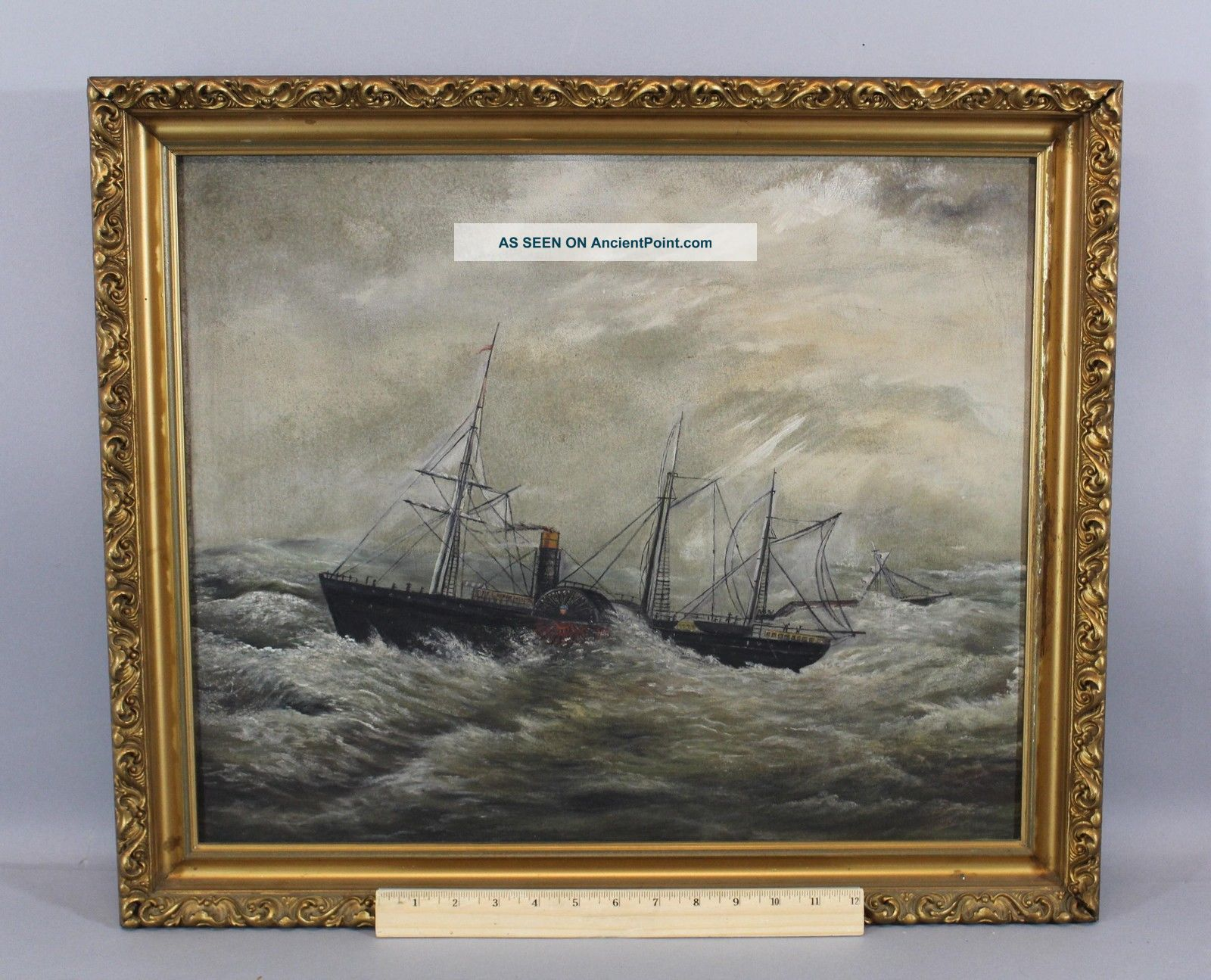 19thc Antique Maritime Steamship Paddle Wheel Ocean Liner Storm Oil Painting Folk Art photo
