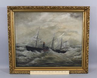 19thc Antique Maritime Steamship Paddle Wheel Ocean Liner Storm Oil Painting photo