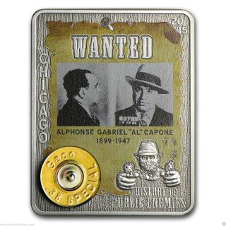 History Of Public Enemies Al Capone 1oz Silver Embed 38 Special Geco Rim photo