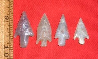 (4) Fine Small Sahara Neolithic Stemmed Points,  Prehistoric African Artifacts photo