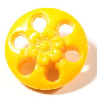 (1) 18mm Antique Art Nouveau Czech Yellow Pierced Faceted Flower Glass Button photo