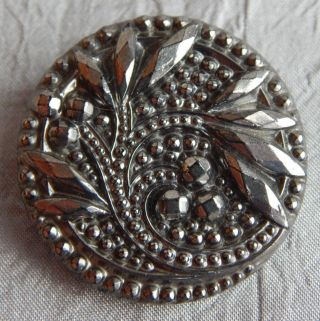 Vintage Large Black Glass Button W/ Silver Luster Flowers 1024 - A photo