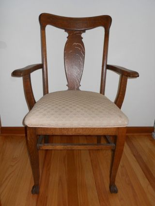 Antique Oak T Back Chair Dining Room With Arm Rests. photo