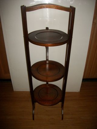 Antique America Walnut Pie Stand/silent Butler 3 Tier Folding Serving Table photo